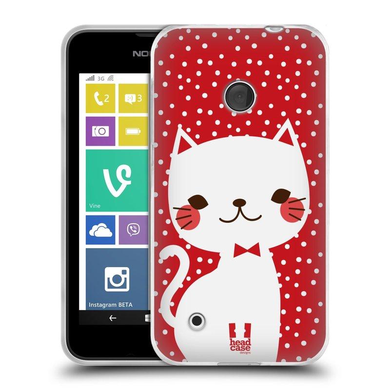 Silikonové pouzdro na mobil Nokia Lumia 530 HEAD CASE KOČIČKA BÍLÁ NA ČERVENÉ (Silikonový kryt či obal na mobilní telefon Nokia Lumia 530)
