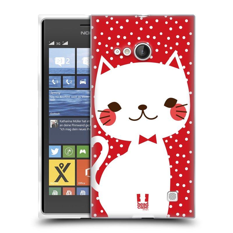 Silikonové pouzdro na mobil Nokia Lumia 735 HEAD CASE KOČIČKA BÍLÁ NA ČERVENÉ (Silikonový kryt či obal na mobilní telefon Nokia Lumia 735)