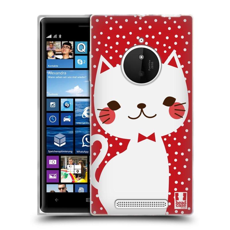 Silikonové pouzdro na mobil Nokia Lumia 830 HEAD CASE KOČIČKA BÍLÁ NA ČERVENÉ (Silikonový kryt či obal na mobilní telefon Nokia Lumia 830)