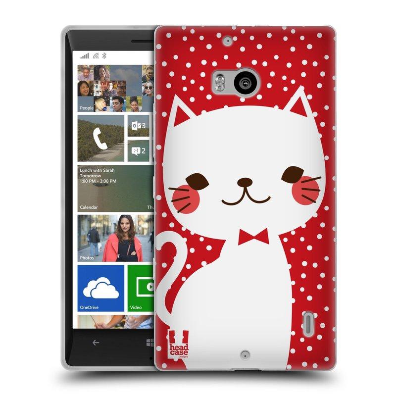 Silikonové pouzdro na mobil Nokia Lumia 930 HEAD CASE KOČIČKA BÍLÁ NA ČERVENÉ (Silikonový kryt či obal na mobilní telefon Nokia Lumia 930)