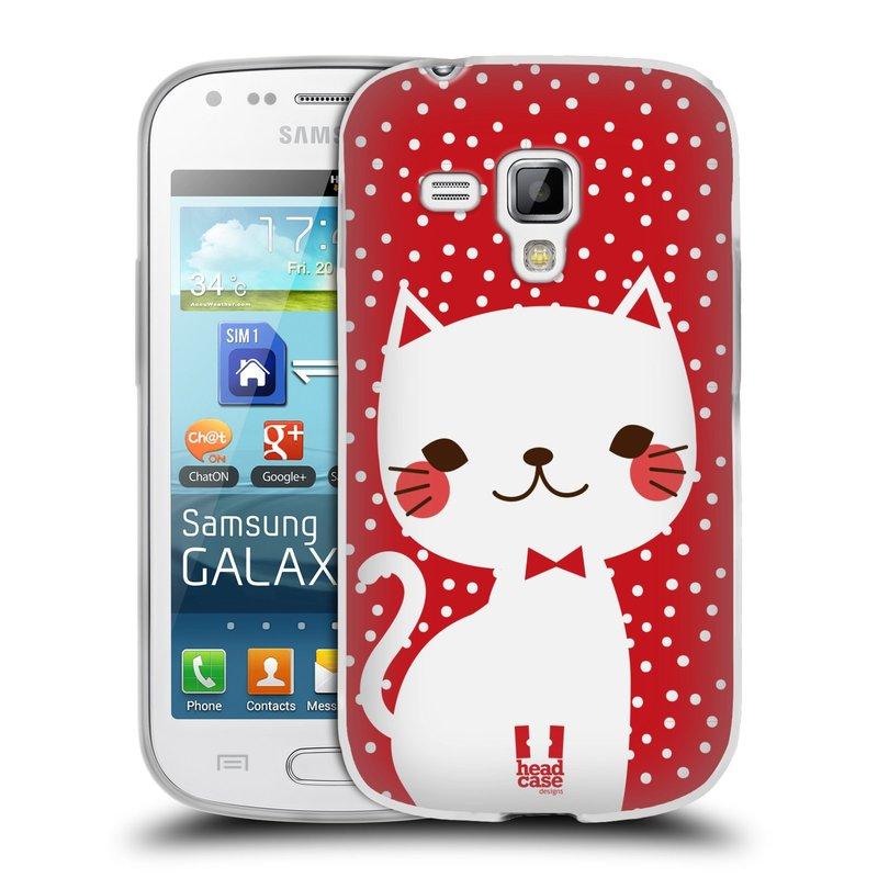 Silikonové pouzdro na mobil Samsung Galaxy Trend Plus HEAD CASE KOČIČKA BÍLÁ NA ČERVENÉ (Silikonový kryt či obal na mobilní telefon Samsung Galaxy Trend Plus GT-S7580)