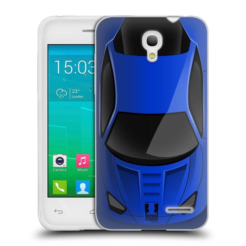 Silikonové pouzdro na mobil Alcatel One Touch Pop S3 HEAD CASE AUTO MODRÉ (Silikonový kryt či obal na mobilní telefon Alcatel OT- 5050Y POP S3)