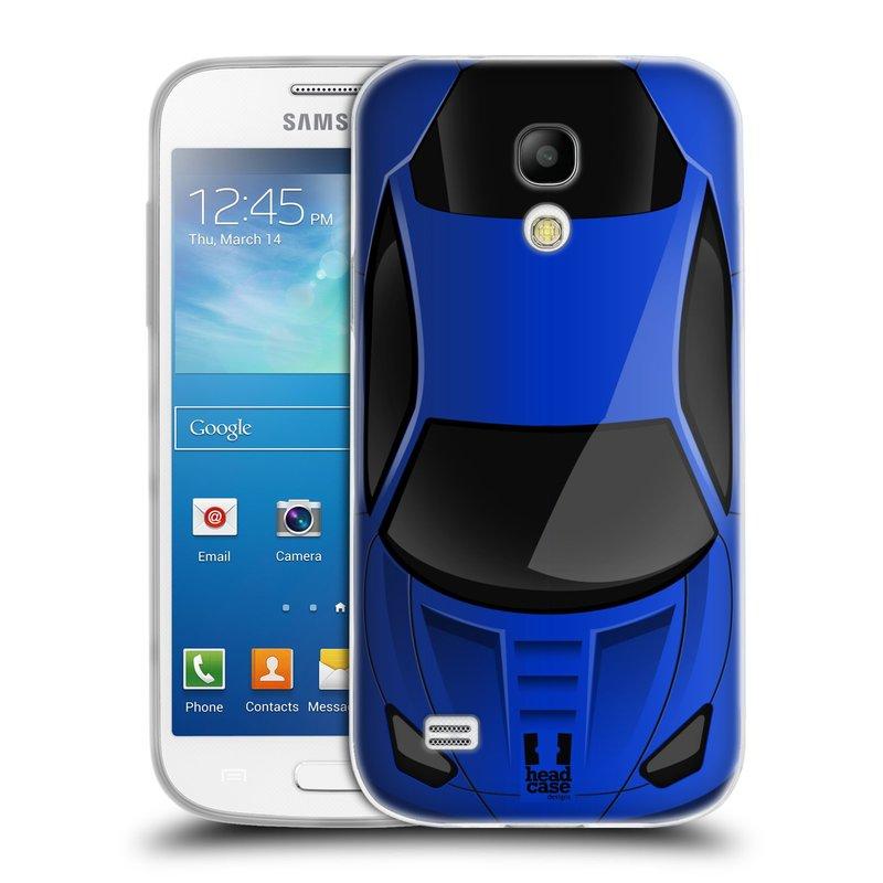 Silikonové pouzdro na mobil Samsung Galaxy S4 Mini VE HEAD CASE AUTO MODRÉ (Silikonový kryt či obal na mobilní telefon Samsung Galaxy S4 Mini VE GT-i9195i (nepasuje na verzi Black Edition))