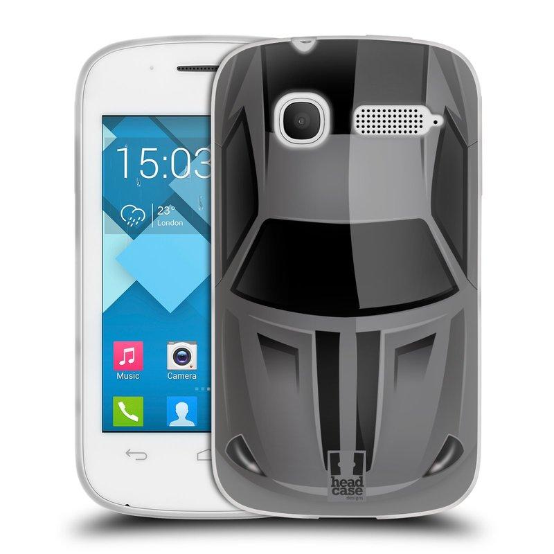 Silikonové pouzdro na mobil Alcatel One Touch Pop C1 HEAD CASE AUTO ŠEDÉ (Silikonový kryt či obal na mobilní telefon Alcatel OT-4015D POP C1)
