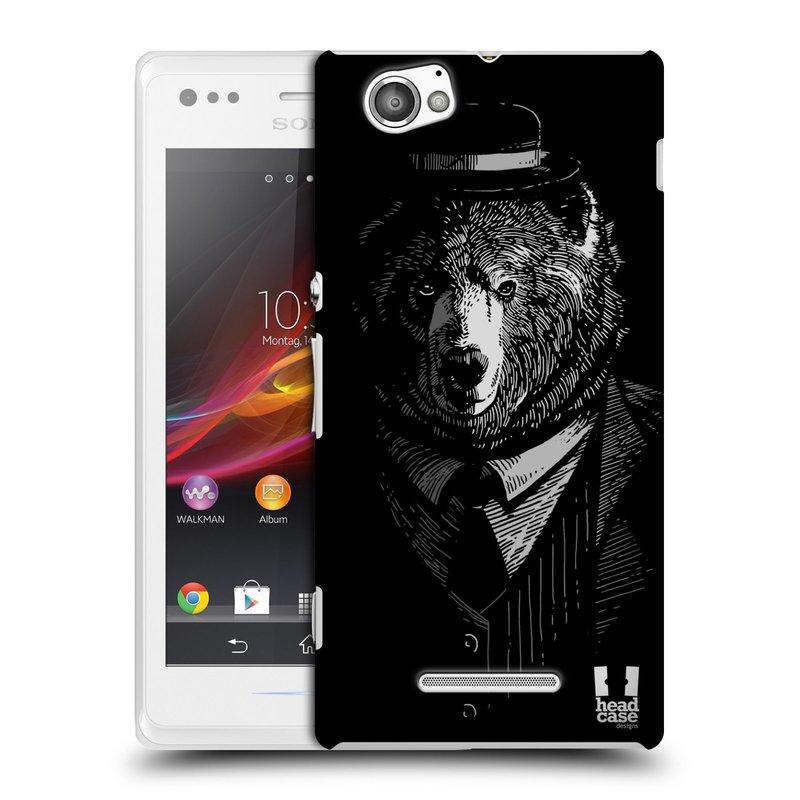 Plastové pouzdro na mobil Sony Xperia M C1905 HEAD CASE MEDVĚD V KVÁDRU (Kryt či obal na mobilní telefon Sony Xperia M a M Dual)