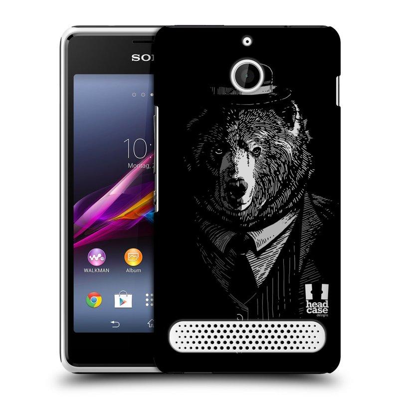 Plastové pouzdro na mobil Sony Xperia E1 D2005 HEAD CASE MEDVĚD V KVÁDRU (Kryt či obal na mobilní telefon Sony Xperia E1 a E1 Dual )