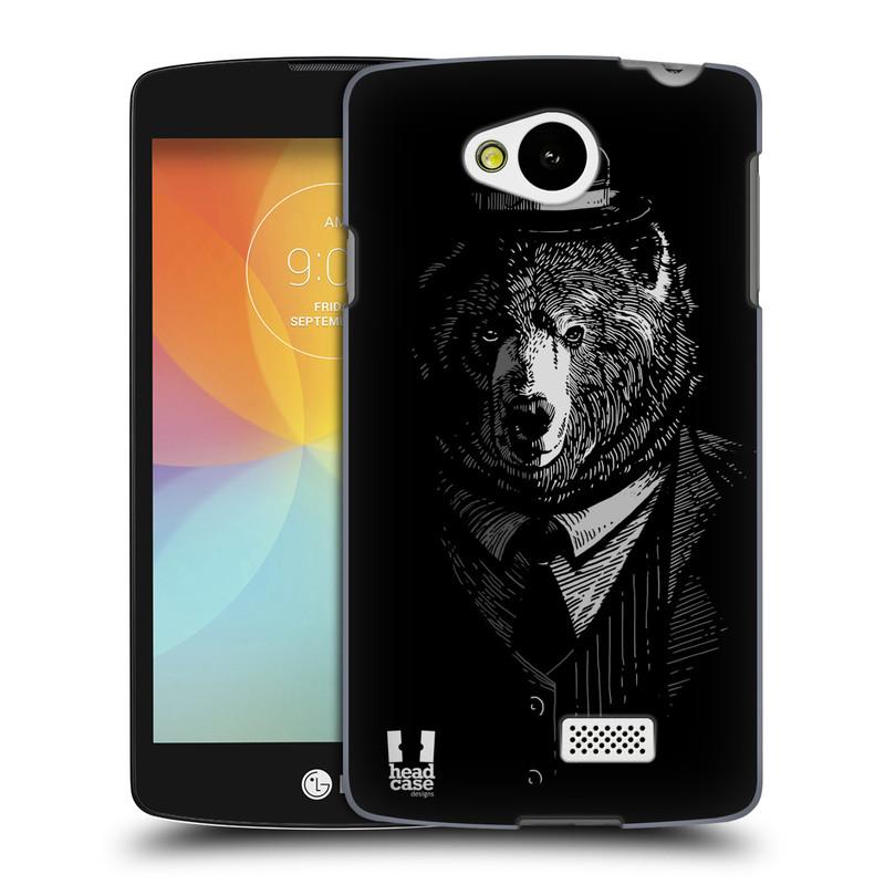 Plastové pouzdro na mobil LG F60 HEAD CASE MEDVĚD V KVÁDRU (Kryt či obal na mobilní telefon LG F60 D390n)