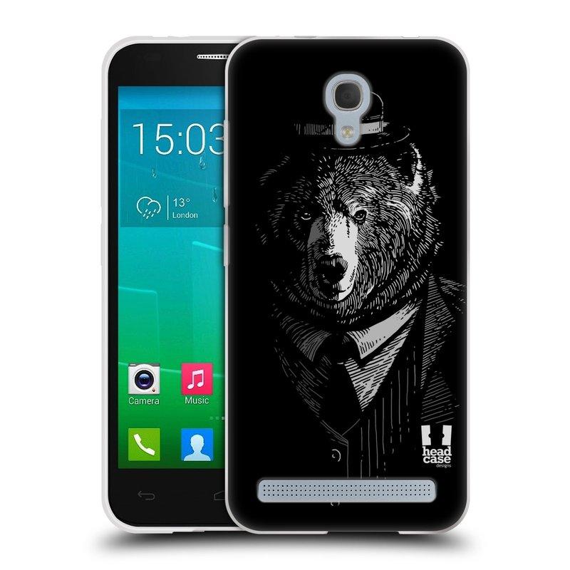 Silikonové pouzdro na mobil Alcatel One Touch Idol 2 Mini S 6036Y HEAD CASE MEDVĚD V KVÁDRU (Silikonový kryt či obal na mobilní telefon Alcatel Idol 2 Mini S OT-6036Y)