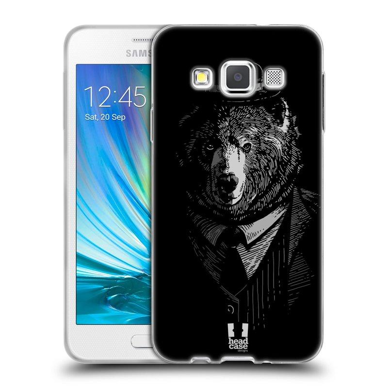 Silikonové pouzdro na mobil Samsung Galaxy A3 HEAD CASE MEDVĚD V KVÁDRU (Silikonový kryt či obal na mobilní telefon Samsung Galaxy A3 SM-A300)