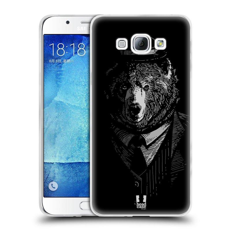 Silikonové pouzdro na mobil Samsung Galaxy A8 HEAD CASE MEDVĚD V KVÁDRU (Silikonový kryt či obal na mobilní telefon Samsung Galaxy A8 SM-A800)