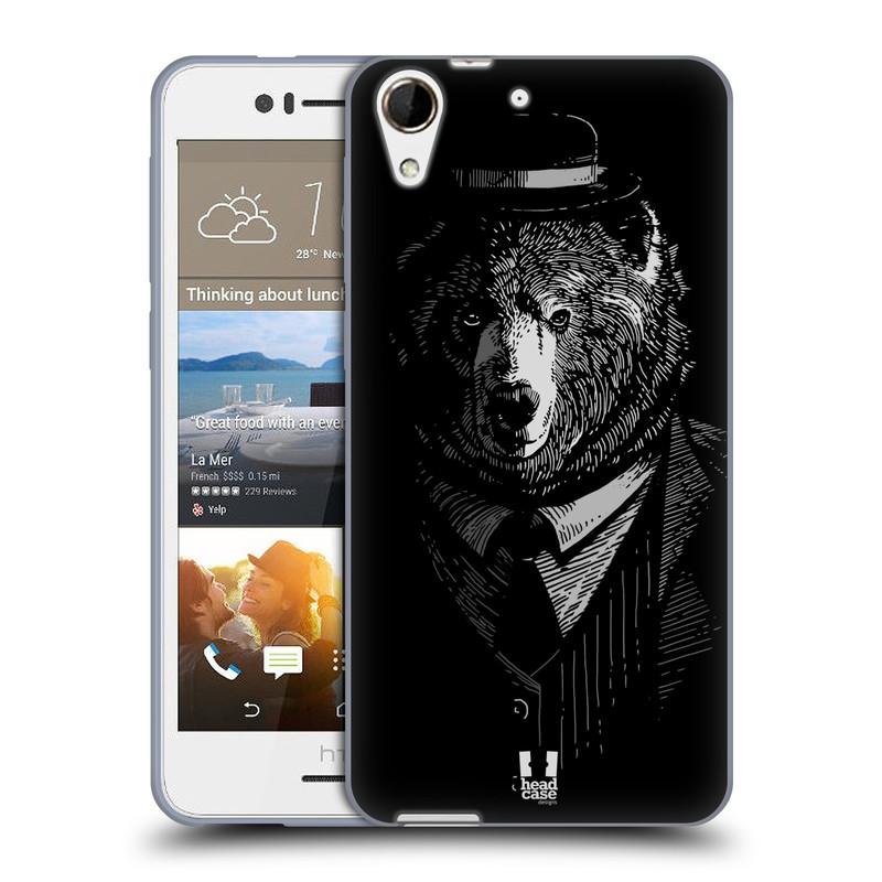 Silikonové pouzdro na mobil HTC Desire 728G Dual SIM HEAD CASE MEDVĚD V KVÁDRU (Silikonový kryt či obal na mobilní telefon HTC Desire 728 G Dual SIM)
