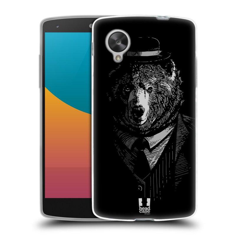 Silikonové pouzdro na mobil LG Nexus 5 HEAD CASE MEDVĚD V KVÁDRU (Silikonový kryt či obal na mobilní telefon LG Google Nexus 5 D821)