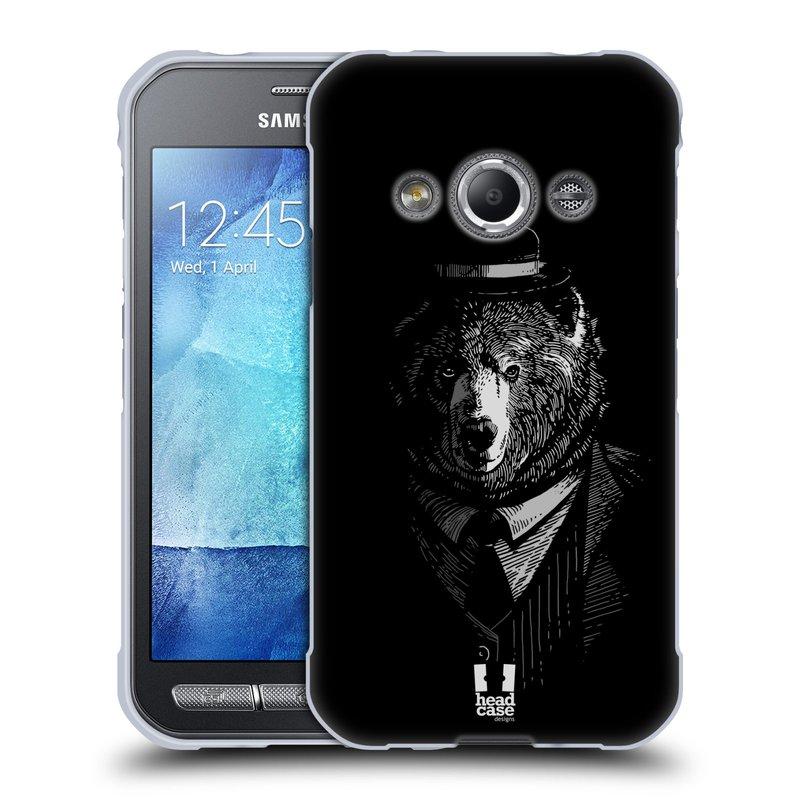 Silikonové pouzdro na mobil Samsung Galaxy Xcover 3 HEAD CASE MEDVĚD V KVÁDRU (Silikonový kryt či obal na mobilní telefon Samsung Galaxy Xcover 3 SM-G388F)