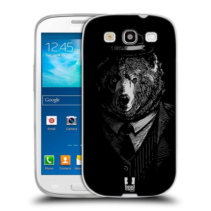 Silikonové pouzdro na mobil Samsung Galaxy S3 Neo HEAD CASE MEDVĚD V KVÁDRU (Silikonový kryt či obal na mobilní telefon Samsung Galaxy S3 Neo GT-i9301i)