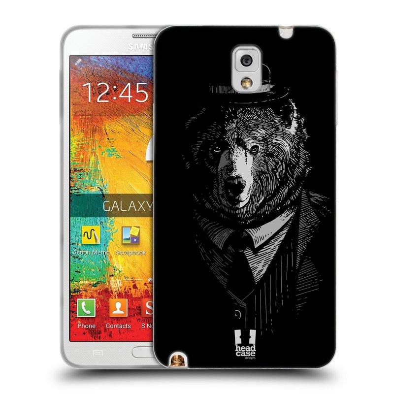 Silikonové pouzdro na mobil Samsung Galaxy Note 3 HEAD CASE MEDVĚD V KVÁDRU (Silikonový kryt či obal na mobilní telefon Samsung Galaxy Note 3 SM-N9005)