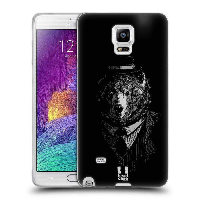 Silikonové pouzdro na mobil Samsung Galaxy Note 4 HEAD CASE MEDVĚD V KVÁDRU (Silikonový kryt či obal na mobilní telefon Samsung Galaxy Note 4 SM-N910F)