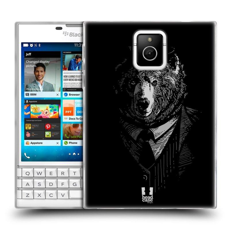 Silikonové pouzdro na mobil Blackberry PASSPORT HEAD CASE MEDVĚD V KVÁDRU (Silikonový kryt či obal na mobilní telefon Blackberry PASSPORT)