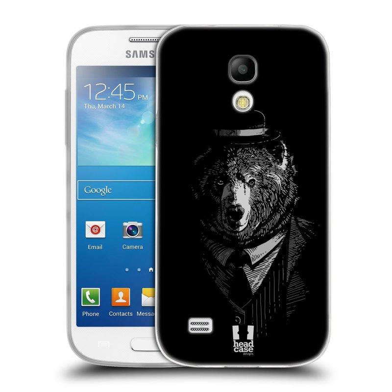 Silikonové pouzdro na mobil Samsung Galaxy S4 Mini HEAD CASE MEDVĚD V KVÁDRU (Silikonový kryt či obal na mobilní telefon Samsung Galaxy S4 Mini GT-i9195 / i9190 (nepasuje na verzi Black Edition))