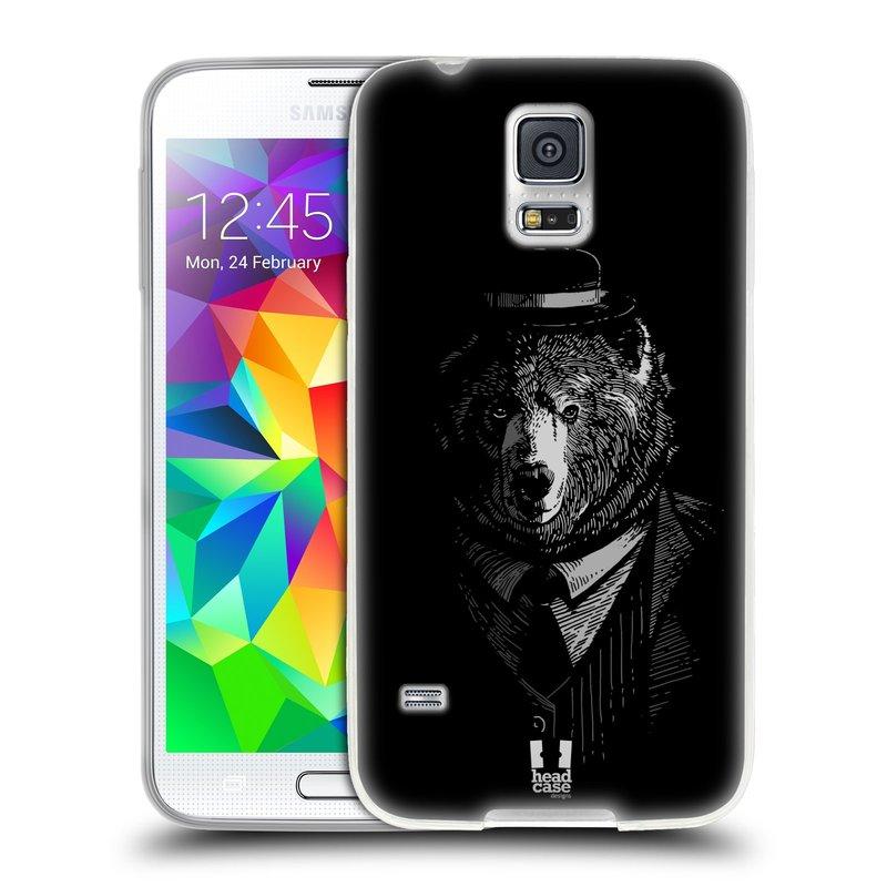 Silikonové pouzdro na mobil Samsung Galaxy S5 HEAD CASE MEDVĚD V KVÁDRU (Silikonový kryt či obal na mobilní telefon Samsung Galaxy S5 SM-G900F)