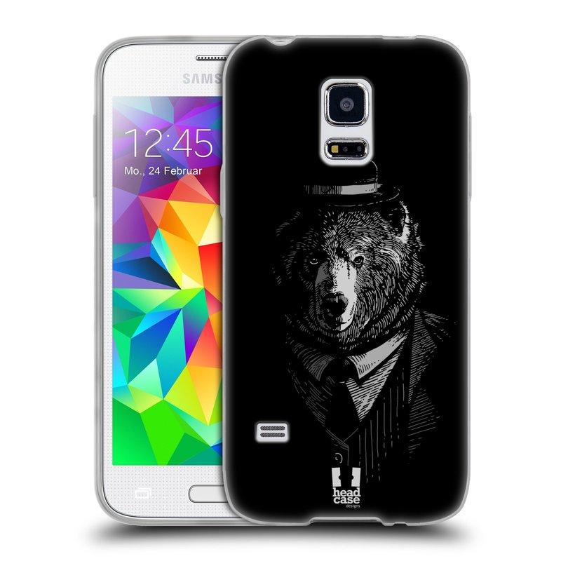 Silikonové pouzdro na mobil Samsung Galaxy S5 Mini HEAD CASE MEDVĚD V KVÁDRU (Silikonový kryt či obal na mobilní telefon Samsung Galaxy S5 Mini SM-G800F)