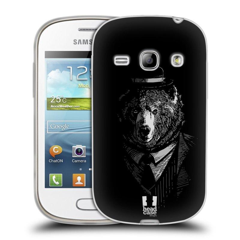 Silikonové pouzdro na mobil Samsung Galaxy Fame HEAD CASE MEDVĚD V KVÁDRU (Silikonový kryt či obal na mobilní telefon Samsung Galaxy Fame GT-S6810)