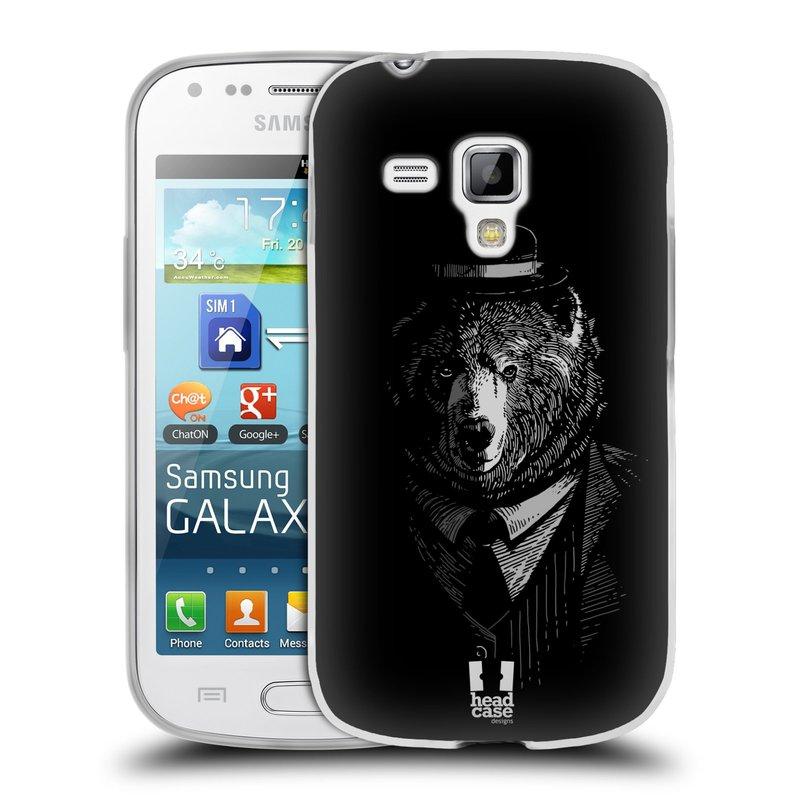 Silikonové pouzdro na mobil Samsung Galaxy S Duos HEAD CASE MEDVĚD V KVÁDRU (Silikonový kryt či obal na mobilní telefon Samsung Galaxy S Duos GT-S7562)