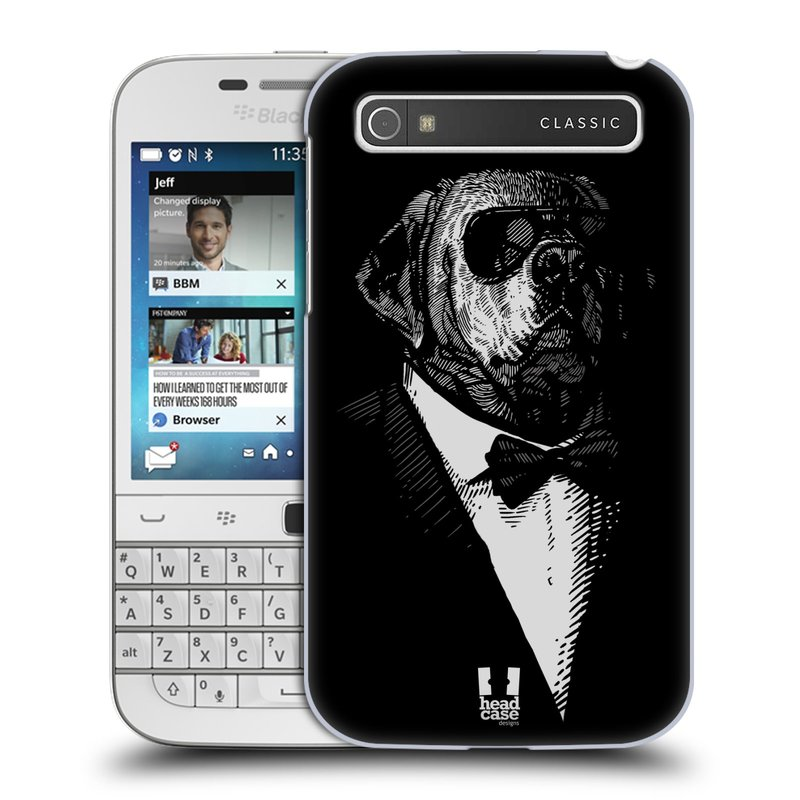Plastové pouzdro na mobil Blackberry Classic HEAD CASE PSISKO V KVÁDRU (Kryt či obal na mobilní telefon Blackberry Classic)