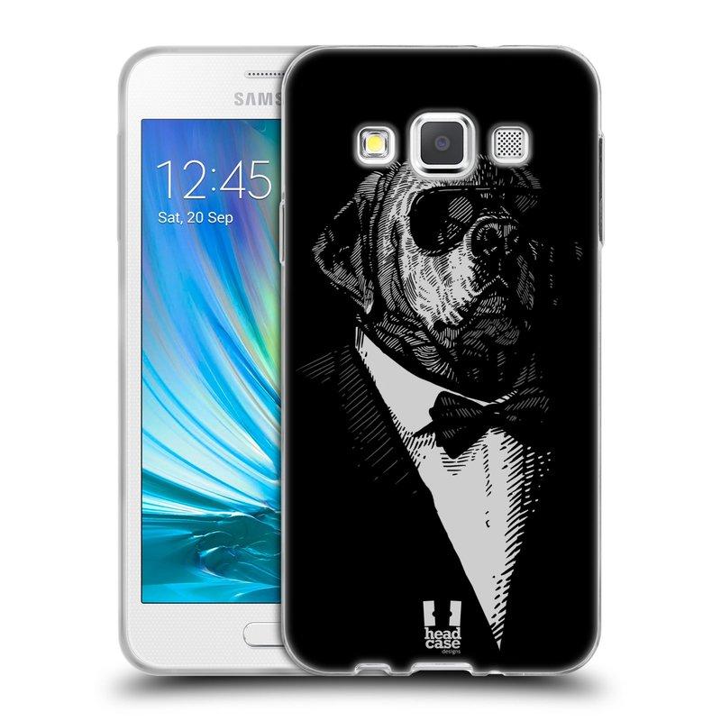 Silikonové pouzdro na mobil Samsung Galaxy A3 HEAD CASE PSISKO V KVÁDRU (Silikonový kryt či obal na mobilní telefon Samsung Galaxy A3 SM-A300)