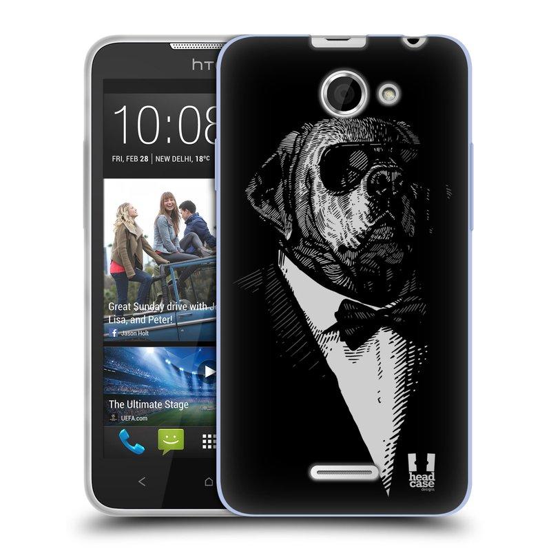 Silikonové pouzdro na mobil HTC Desire 516 HEAD CASE PSISKO V KVÁDRU (Silikonový kryt či obal na mobilní telefon HTC Desire 516 Dual SIM)
