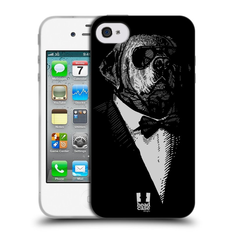 Silikonové pouzdro na mobil Apple iPhone 4 a 4S HEAD CASE PSISKO V KVÁDRU (Silikonový kryt či obal na mobilní telefon Apple iPhone 4 a 4S)