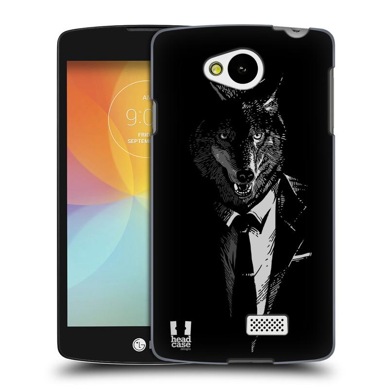 Plastové pouzdro na mobil LG F60 HEAD CASE VLK V KVÁDRU (Kryt či obal na mobilní telefon LG F60 D390n)