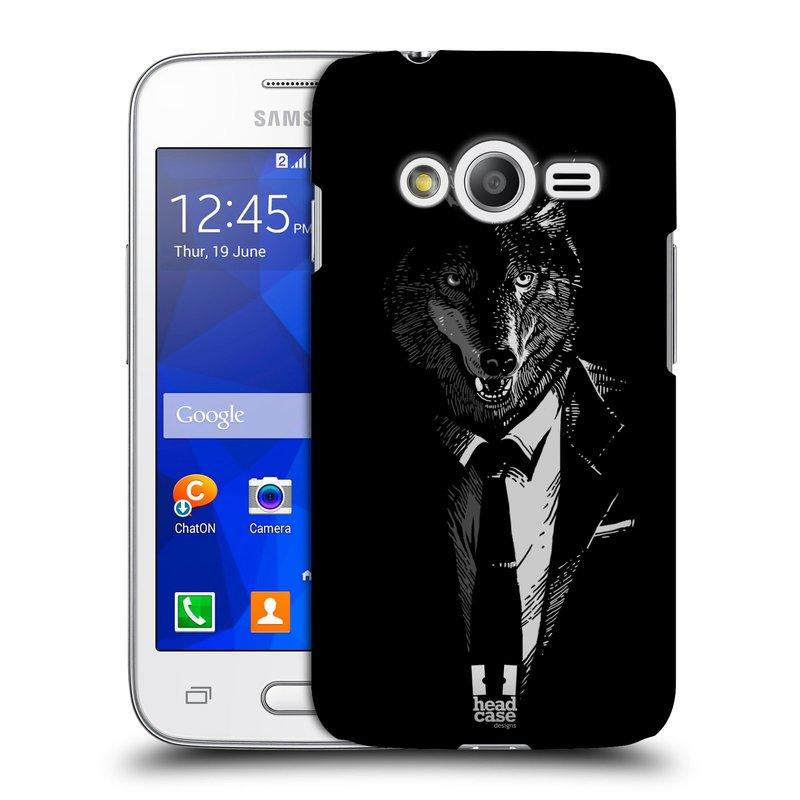 Plastové pouzdro na mobil Samsung Galaxy Trend 2 Lite HEAD CASE VLK V KVÁDRU (Kryt či obal na mobilní telefon Samsung Galaxy Trend 2 Lite SM-G318)