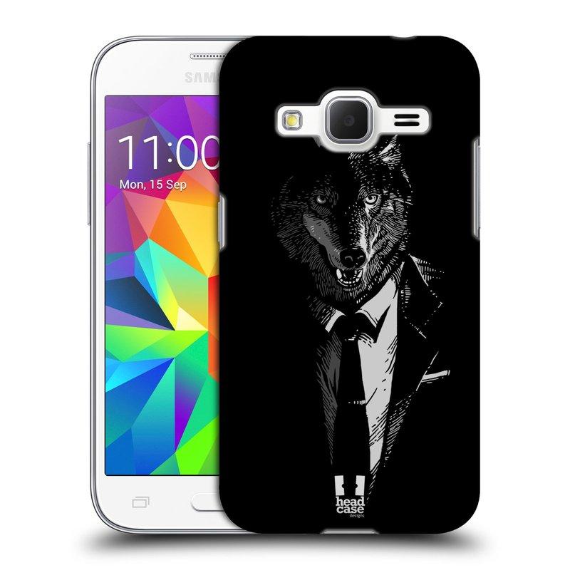 Plastové pouzdro na mobil Samsung Galaxy Core Prime LTE HEAD CASE VLK V KVÁDRU (Kryt či obal na mobilní telefon Samsung Galaxy Core Prime LTE SM-G360)