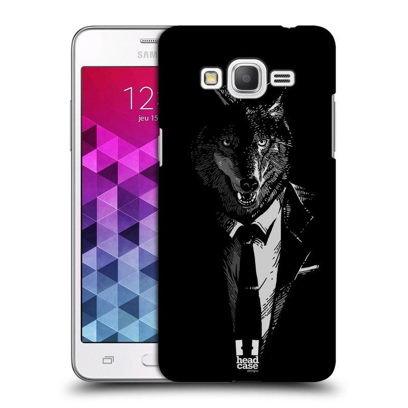Plastové pouzdro na mobil Samsung Galaxy Grand Prime HEAD CASE VLK V KVÁDRU (Kryt či obal na mobilní telefon Samsung Galaxy Grand Prime SM-G530)