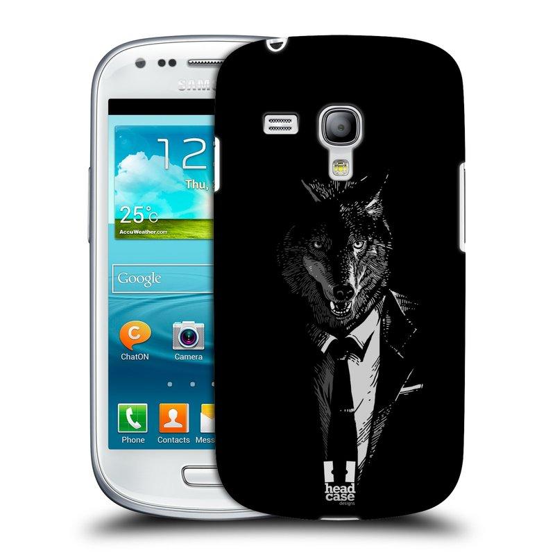 Plastové pouzdro na mobil Samsung Galaxy S III Mini HEAD CASE VLK V KVÁDRU (Kryt či obal na mobilní telefon Samsung Galaxy S III Mini GT-i8190)