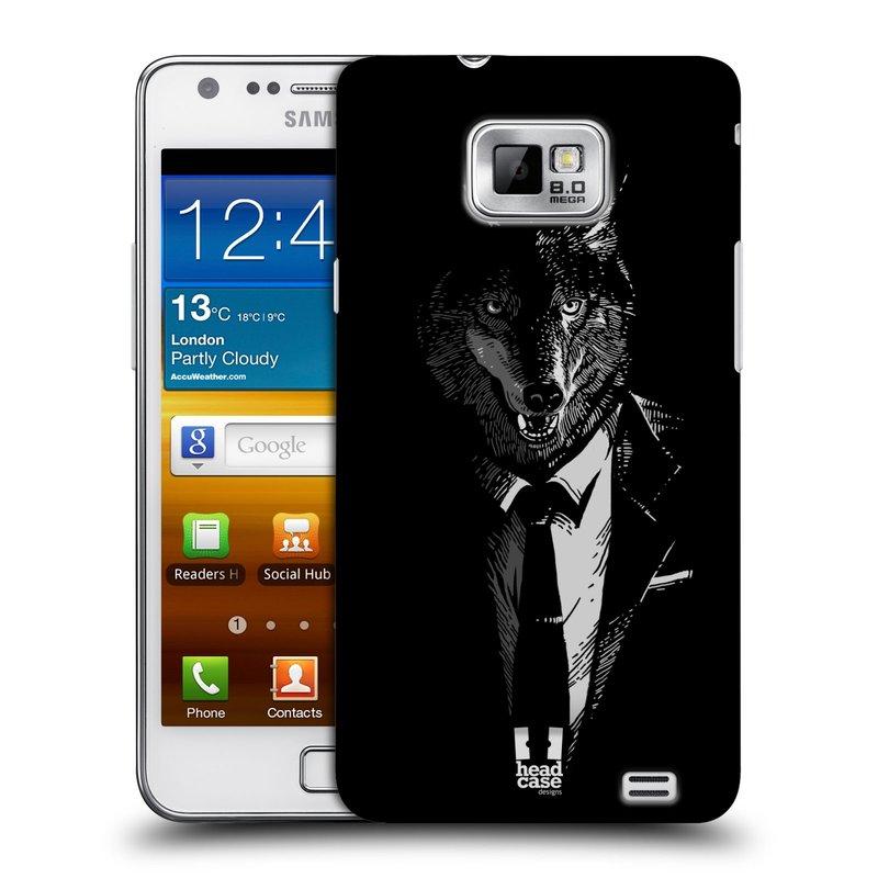 Plastové pouzdro na mobil Samsung Galaxy S II HEAD CASE VLK V KVÁDRU (Kryt či obal na mobilní telefon Samsung Galaxy S II GT-i9100)