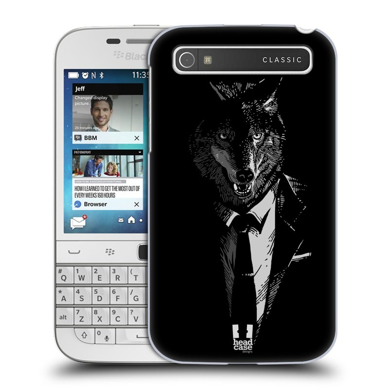 Plastové pouzdro na mobil Blackberry Classic HEAD CASE VLK V KVÁDRU (Kryt či obal na mobilní telefon Blackberry Classic)