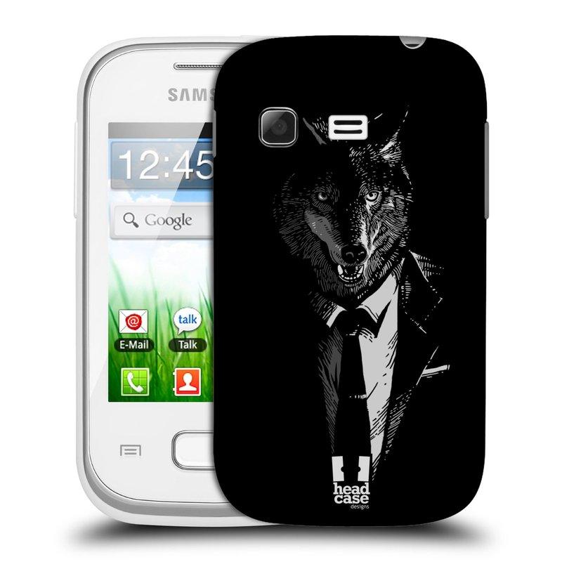 Plastové pouzdro na mobil Samsung Galaxy Pocket HEAD CASE VLK V KVÁDRU (Kryt či obal na mobilní telefon Samsung Galaxy Pocket GT-S5300)