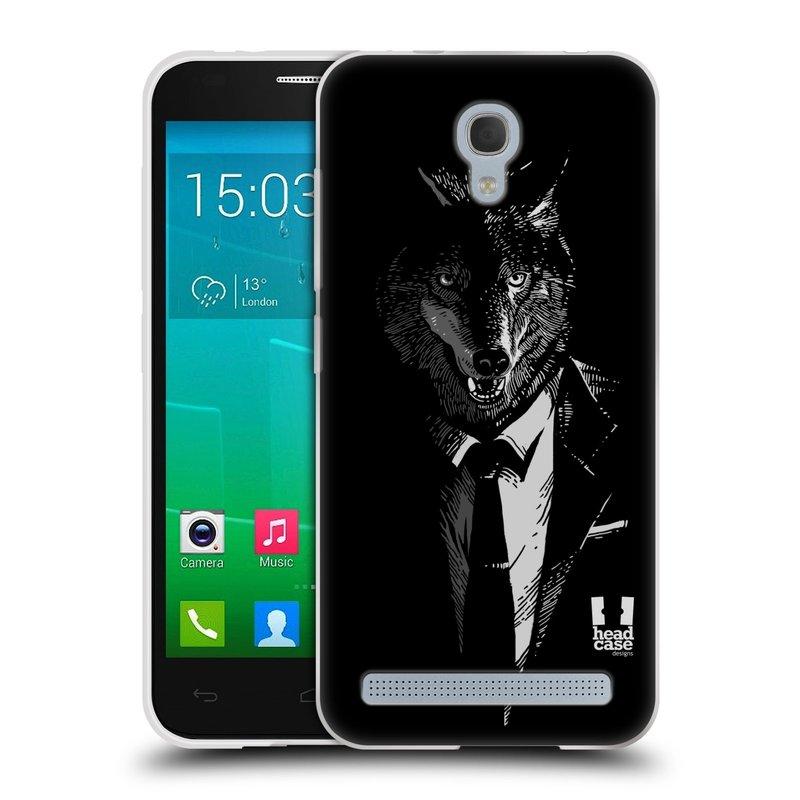 Silikonové pouzdro na mobil Alcatel One Touch Idol 2 Mini S 6036Y HEAD CASE VLK V KVÁDRU (Silikonový kryt či obal na mobilní telefon Alcatel Idol 2 Mini S OT-6036Y)