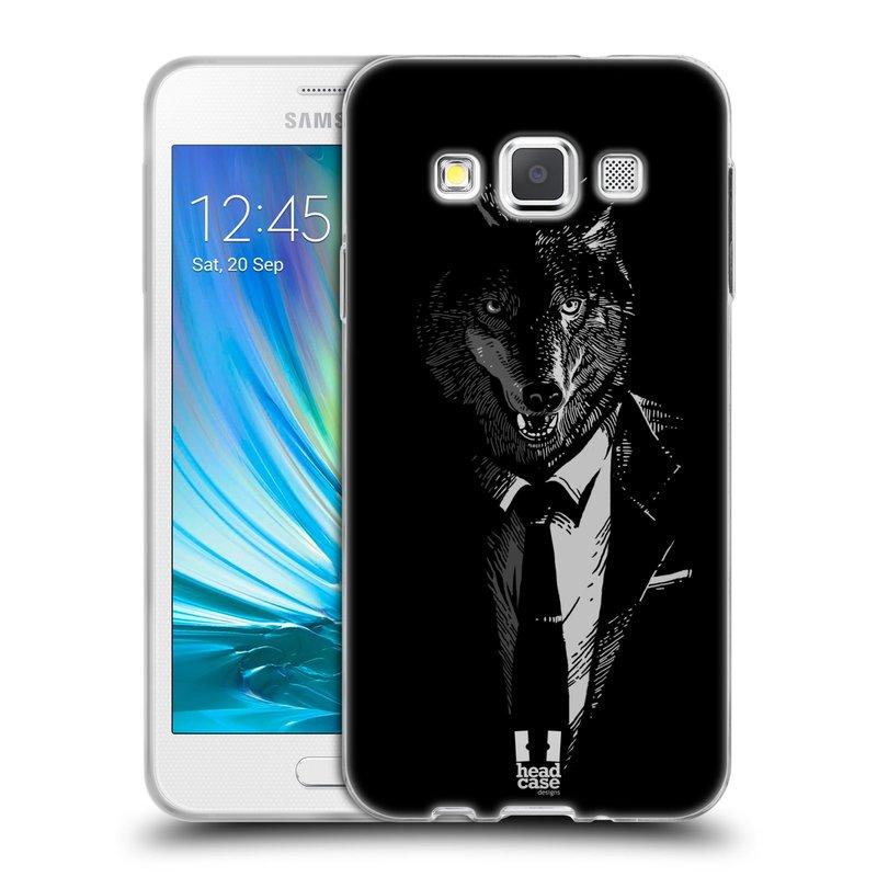Silikonové pouzdro na mobil Samsung Galaxy A3 HEAD CASE VLK V KVÁDRU (Silikonový kryt či obal na mobilní telefon Samsung Galaxy A3 SM-A300)