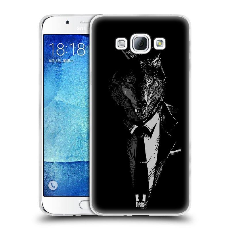 Silikonové pouzdro na mobil Samsung Galaxy A8 HEAD CASE VLK V KVÁDRU (Silikonový kryt či obal na mobilní telefon Samsung Galaxy A8 SM-A800)