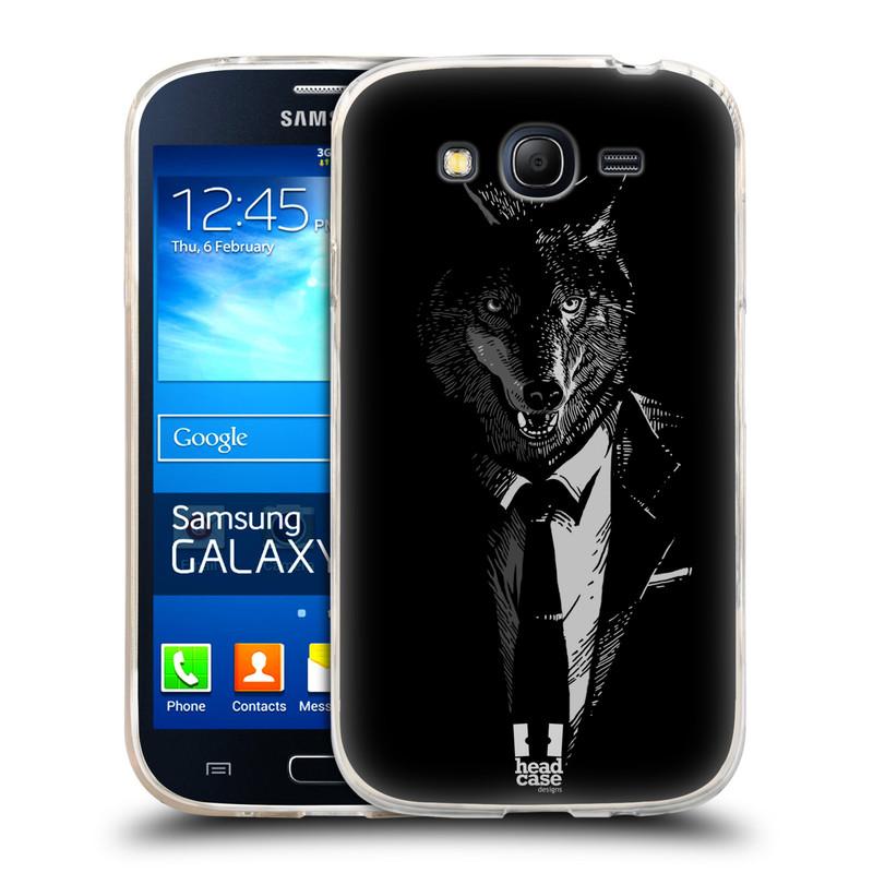 Silikonové pouzdro na mobil Samsung Galaxy Grand Neo HEAD CASE VLK V KVÁDRU (Silikonový kryt či obal na mobilní telefon Samsung Galaxy Grand Neo GT-I9060)