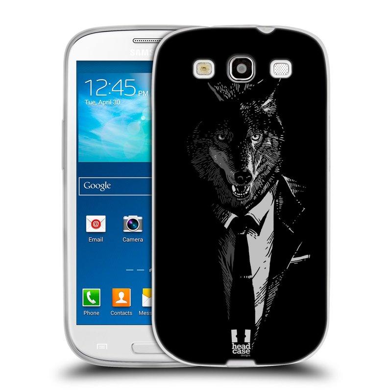 Silikonové pouzdro na mobil Samsung Galaxy S III HEAD CASE VLK V KVÁDRU (Silikonový kryt či obal na mobilní telefon Samsung Galaxy S III GT-i9300)