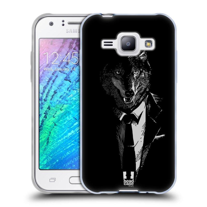 Silikonové pouzdro na mobil Samsung Galaxy J1 HEAD CASE VLK V KVÁDRU (Silikonový kryt či obal na mobilní telefon Samsung Galaxy J1 a J1 Duos)