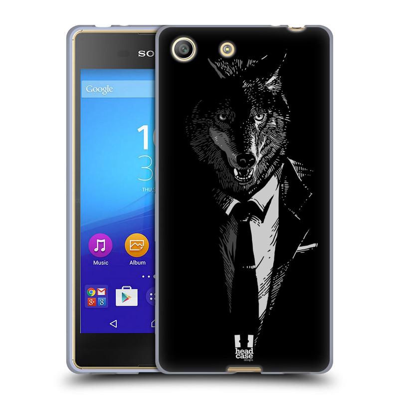 Silikonové pouzdro na mobil Sony Xperia M5 HEAD CASE VLK V KVÁDRU (Silikonový kryt či obal na mobilní telefon Sony Xperia M5 Dual SIM / Aqua)