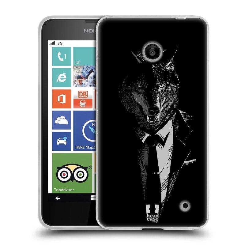 Silikonové pouzdro na mobil Nokia Lumia 630 HEAD CASE VLK V KVÁDRU (Silikonový kryt či obal na mobilní telefon Nokia Lumia 630 a Nokia Lumia 630 Dual SIM)