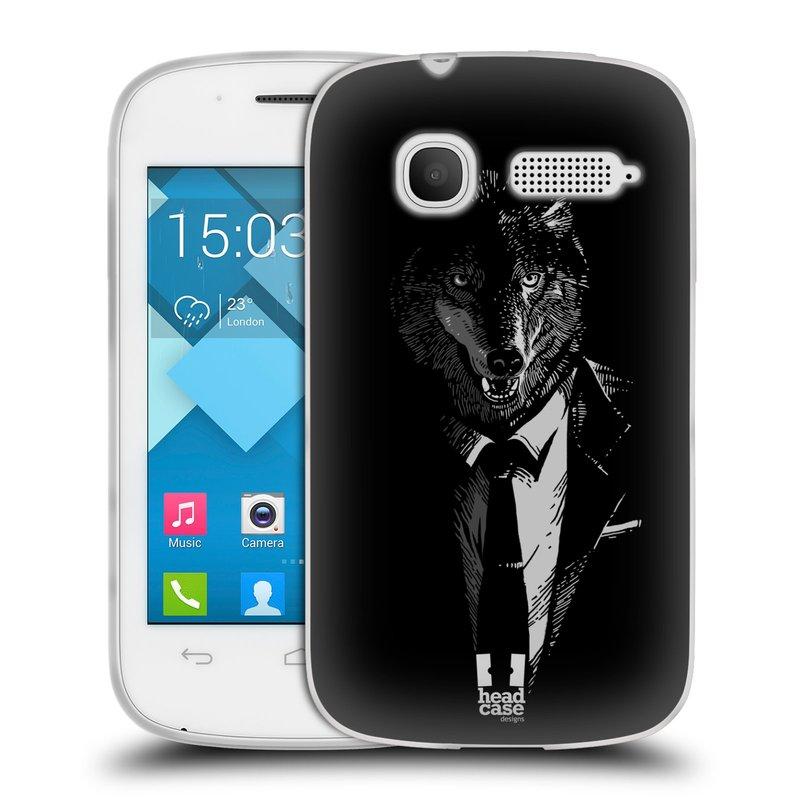 Silikonové pouzdro na mobil Alcatel One Touch Pop C1 HEAD CASE VLK V KVÁDRU (Silikonový kryt či obal na mobilní telefon Alcatel OT-4015D POP C1)