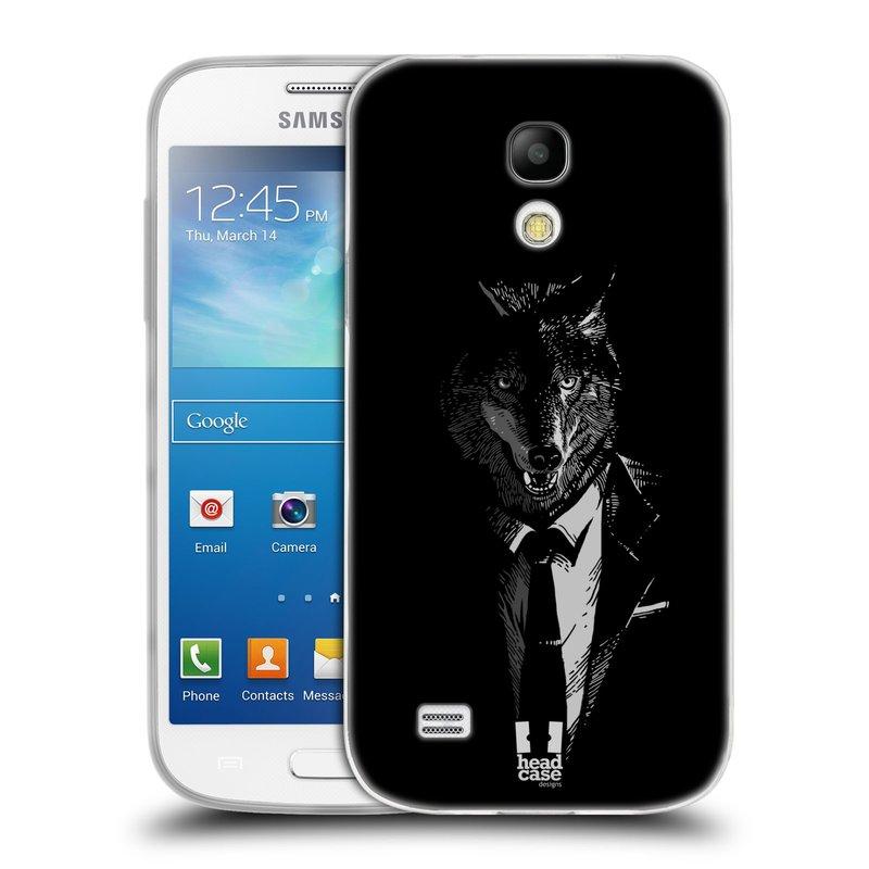 Silikonové pouzdro na mobil Samsung Galaxy S4 Mini HEAD CASE VLK V KVÁDRU (Silikonový kryt či obal na mobilní telefon Samsung Galaxy S4 Mini GT-i9195 / i9190 (nepasuje na verzi Black Edition))