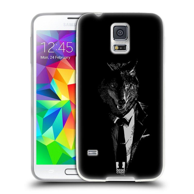 Silikonové pouzdro na mobil Samsung Galaxy S5 HEAD CASE VLK V KVÁDRU (Silikonový kryt či obal na mobilní telefon Samsung Galaxy S5 SM-G900F)