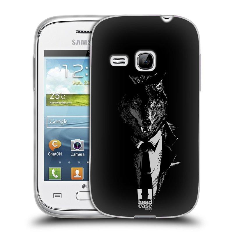 Silikonové pouzdro na mobil Samsung Galaxy Young HEAD CASE VLK V KVÁDRU (Silikonový kryt či obal na mobilní telefon Samsung Galaxy Young GT-S6310)